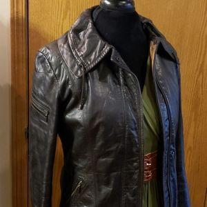 Cole haan distressed dark brown lux moto jacket